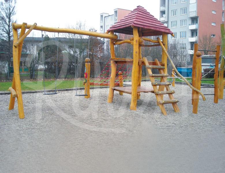 Spielturm mit Dach & Zweierschaukel aus Robinie