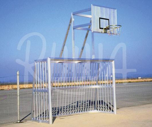 Bolzplatztor mit Ballfang, Basketball-Aufsatz