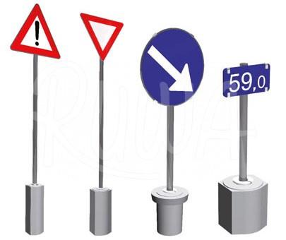 Verkehrszeichenfundamente aus Beton